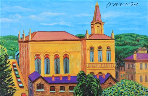 "Lot 516-After David Hockney, ""Victoria Hall, Saltaire"", signed print."